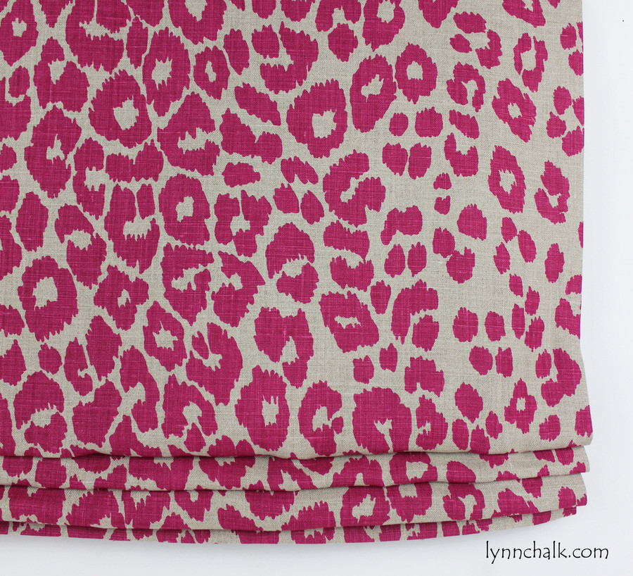 Custom Roman Shade by Lynn Chalk in Schumacher Iconic Leopard Fuchsia/Natural