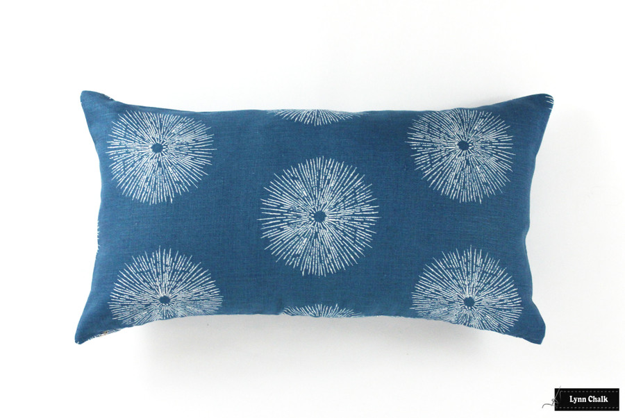 Kelly Wearstler for Lee Jofa Sea Urchin Roman Shade in Teal/Dove