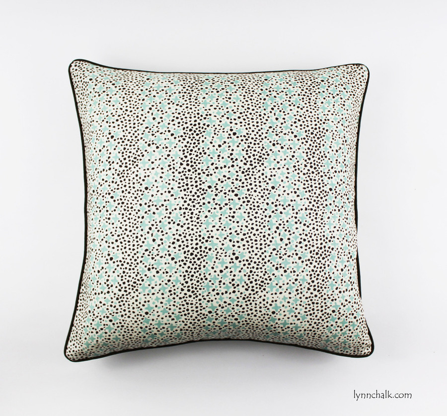 Custom 24 X 24 Pillows in Quadrille Jacks II Green Brown Dots on Tint with welting in Robert Allen Kilrush II Java
