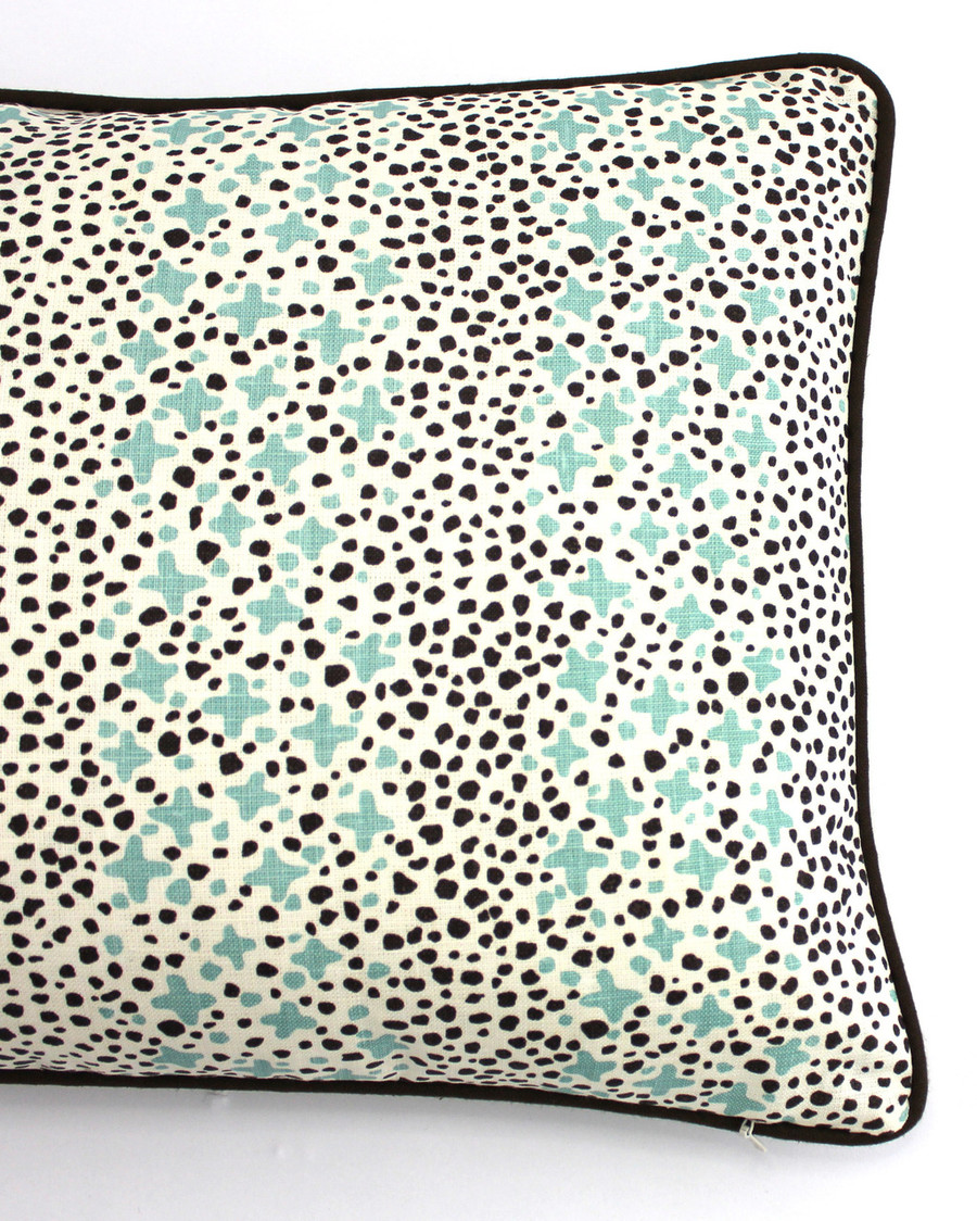 Quadrille Alan Campbell Jacks II Green Brown Dots on Tint Pillows