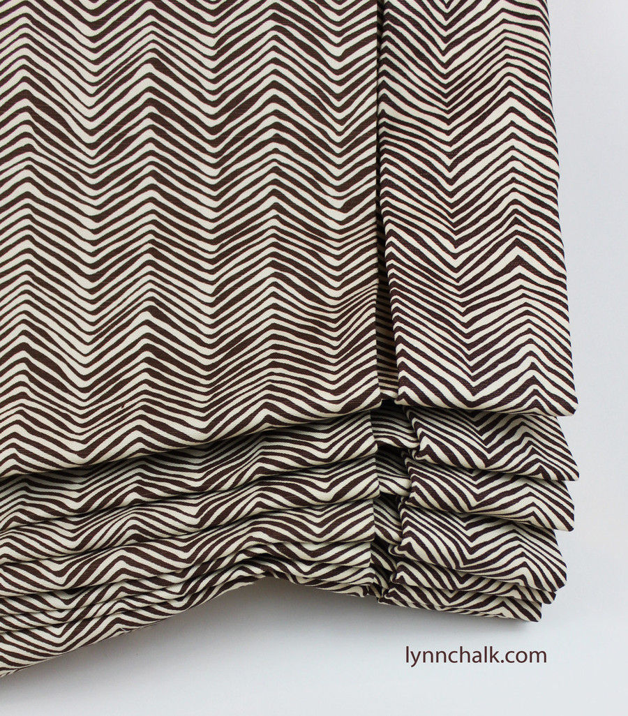 London Roman Shade in Petite Zig Zag New Brown on Tint