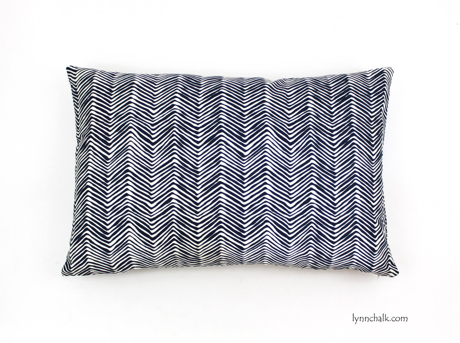 Pillow in Petite Zig Zag in Navy (16 X 24)