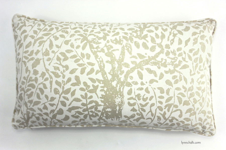 Custom Pillow by Lynn Chalk in Arbre De Matisse Reverse Ecru on Tint with self welting (14 X 24)