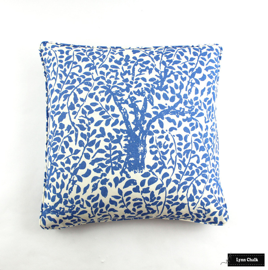 Quadrille Arbre De Matisse China Blue pillows self welting (22 X 22)