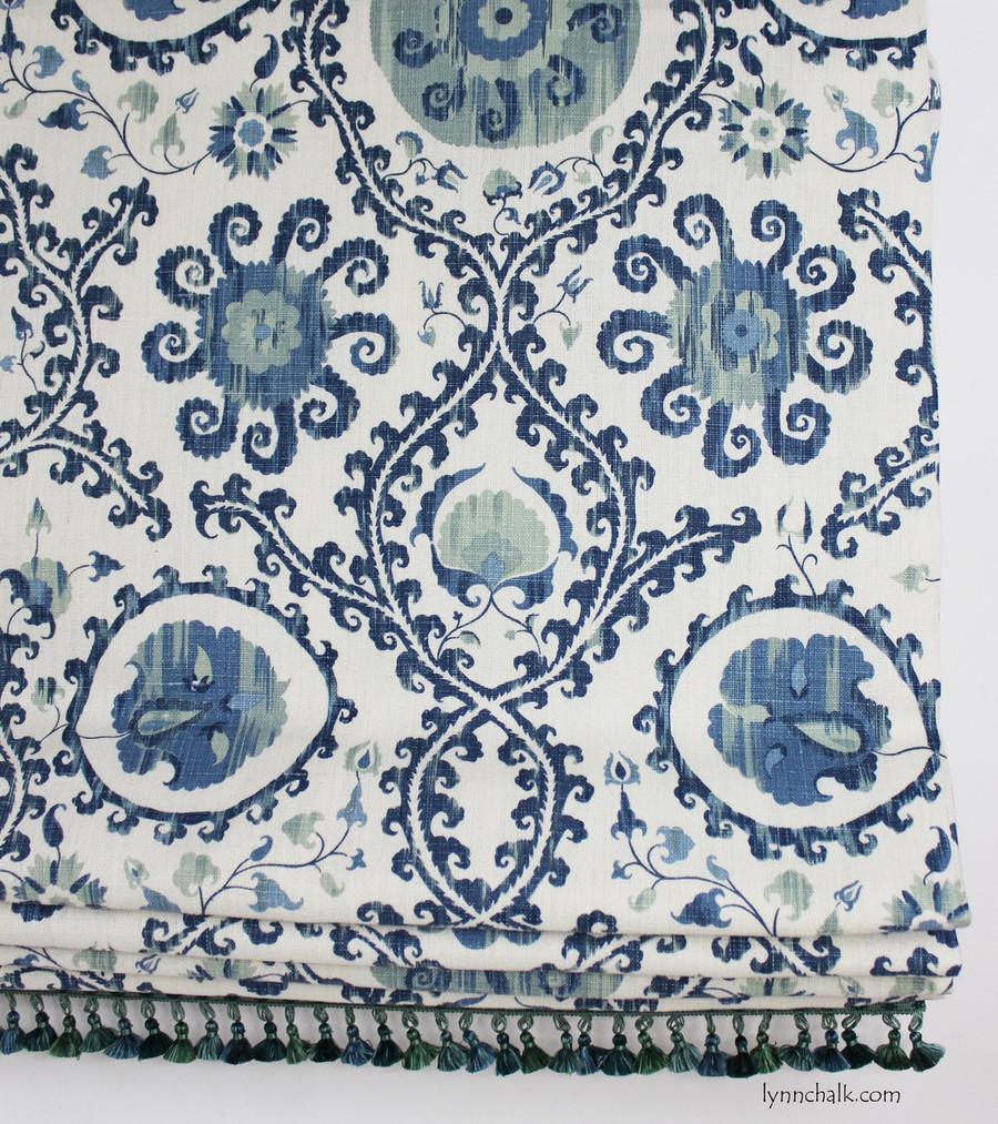 Custom Roman Shade by Lynn Chalk in Carleton V Oxus Blues with Samuel and Sons La Petite Silk Tassel Fringe in Teal Melange