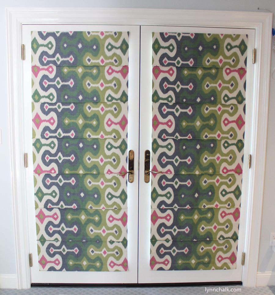 Front Slat Shades in Martyn Lawrence Bullard Darya Ikat Jewel on Doors.