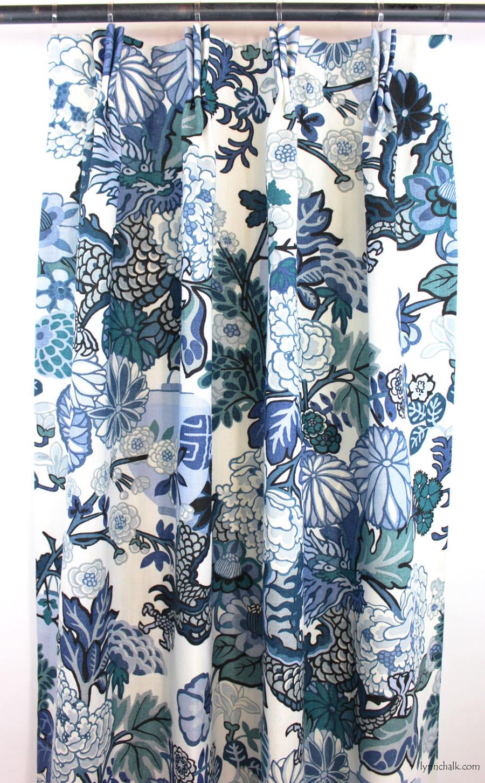 Custom Drapes by Lynn Chalk in Chiang Mai Dragon in China Blue