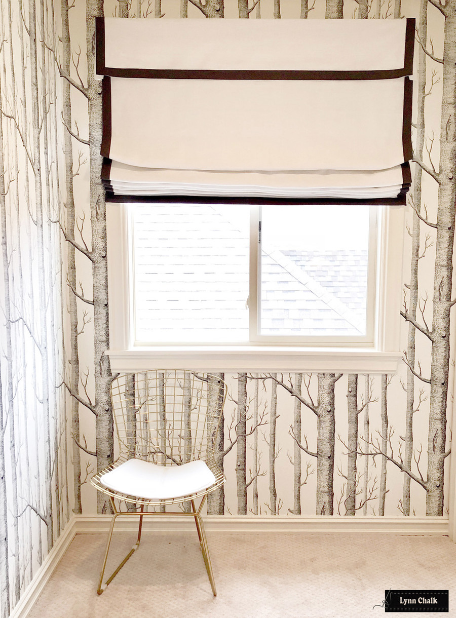 Roman Shade with Self Valance and Samuel & Sons Trim in Granite and Cole & Son Woods Wallpaper