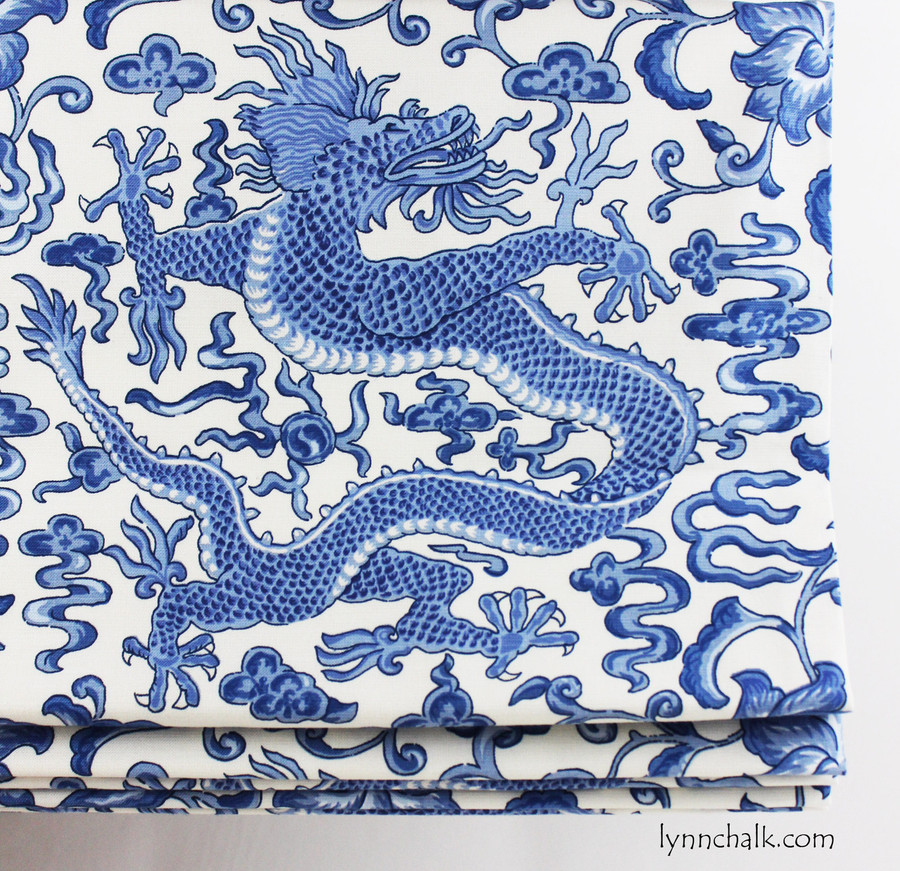 Custom Roman Shades by Lynn Chalk in Scalamandre Chi'en Dragon in Blue on White (this color discontinued)