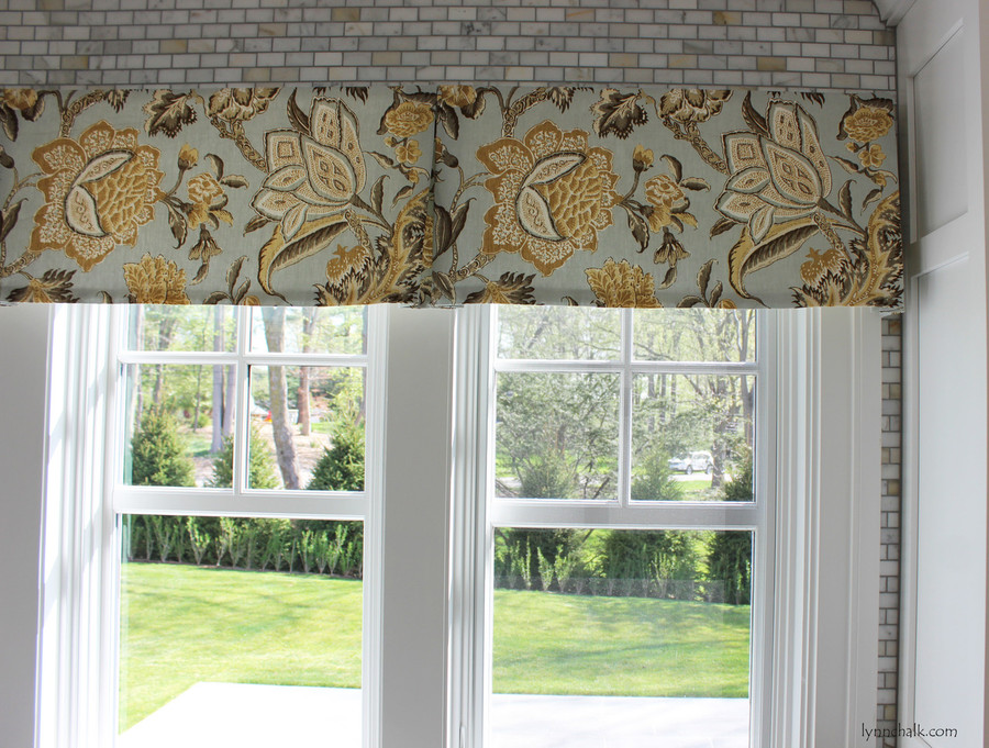 Custom Box Pleated Valance in Ceylon Floral Vine in Mineral