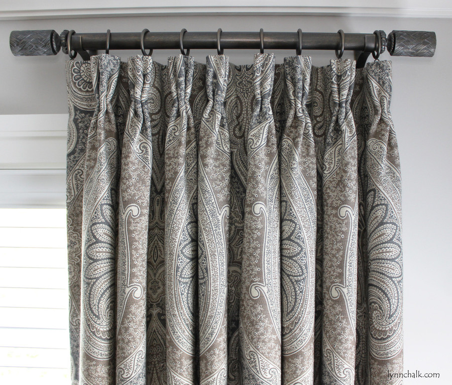 """Custom Pleated Drapes by Lynn Chalk in Schumacher Odalisque in Tabac.  Drapery Hardware is Paris Texas Amulet Finish, 1 3/8"""" Diameter Rods with Fairbanks Finials."""