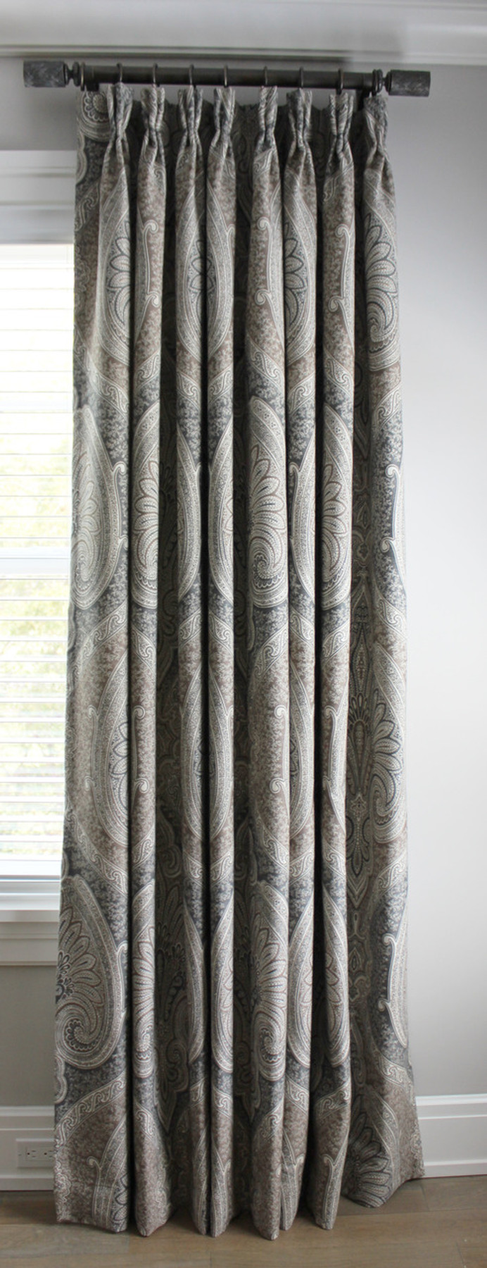 Custom Pleated Drapes by Lynn Chalk in Schumacher Odalisque in Tabac