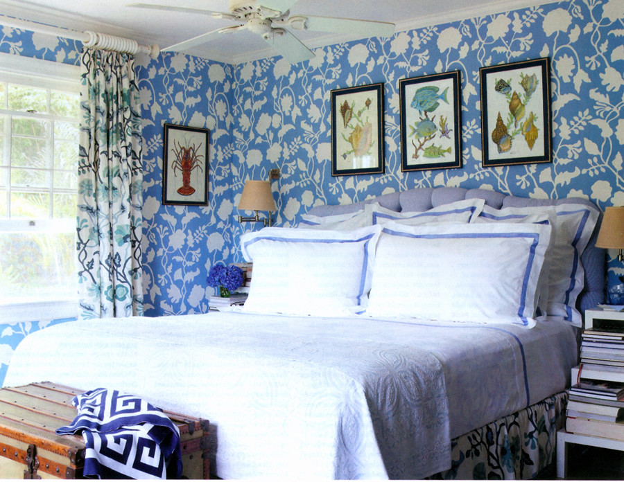 Quadrille Potalla Blues Drapes with Potalla Background Wallpaper (Architectural Digest)