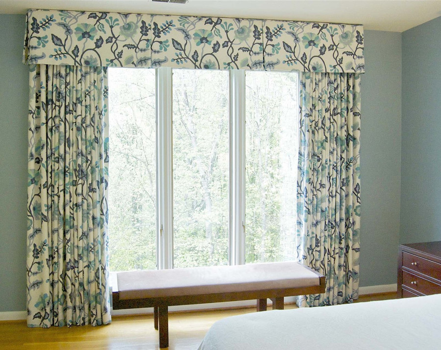 Quadrille Potalla Multi Blues Drapes in Bedroom (Melissa McLay Interiors)