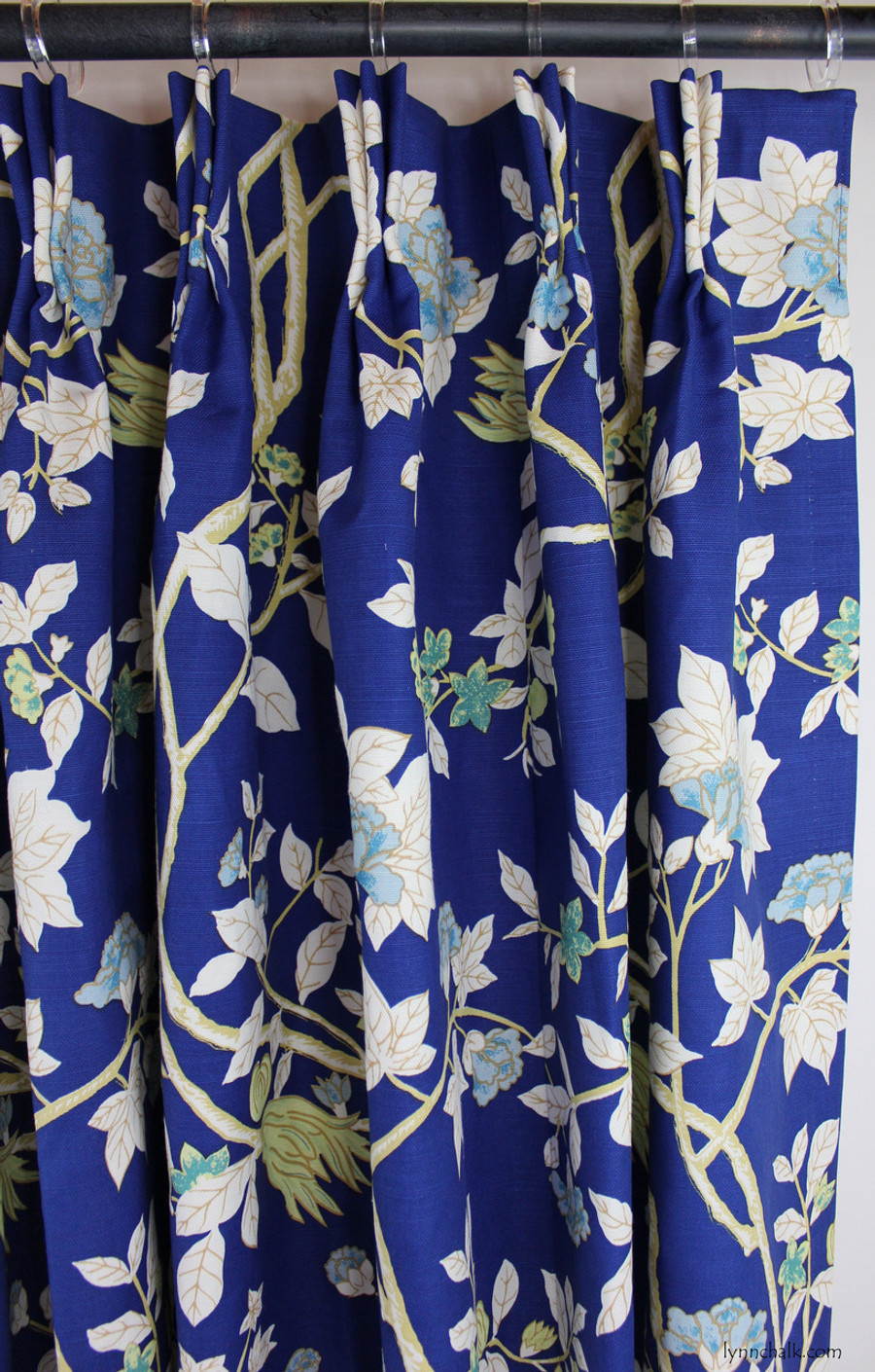 Custom Drapes by Lynn Chalk in Quadrille Happy Garden New Navy on Tint.