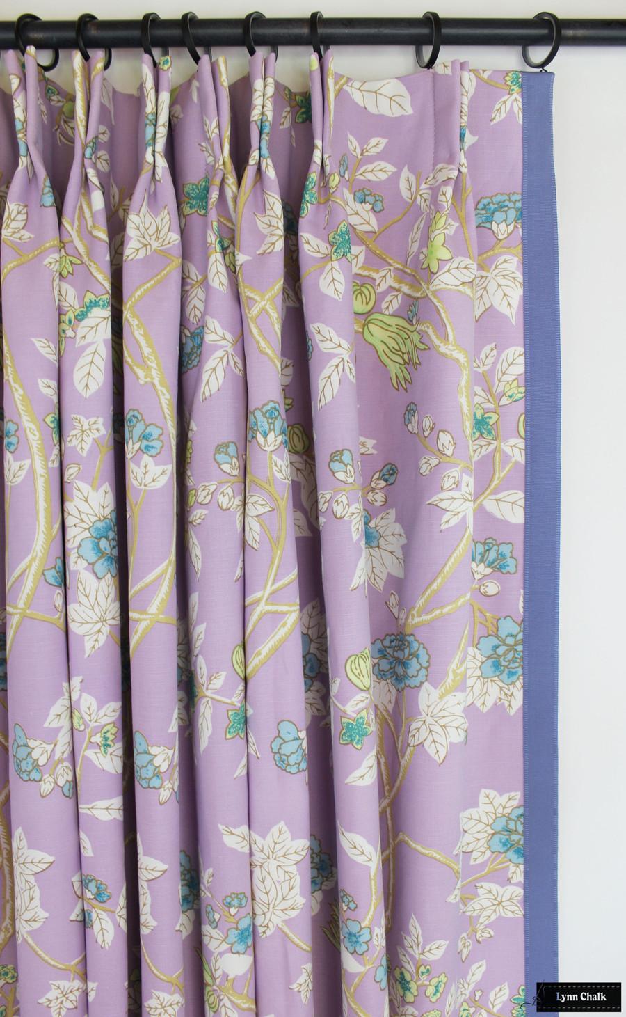 Quadrille Happy Garden Lavender on White 306064F with Samuel & Sons Cambridge Strie Braid Periwinkle Custom Drapes