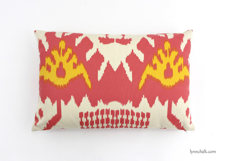 ON SALE 75% Off-Quadrille Kazak Custom Pillow in Coral/New Yellow on Suncloth (Both Sides-14 X 22)