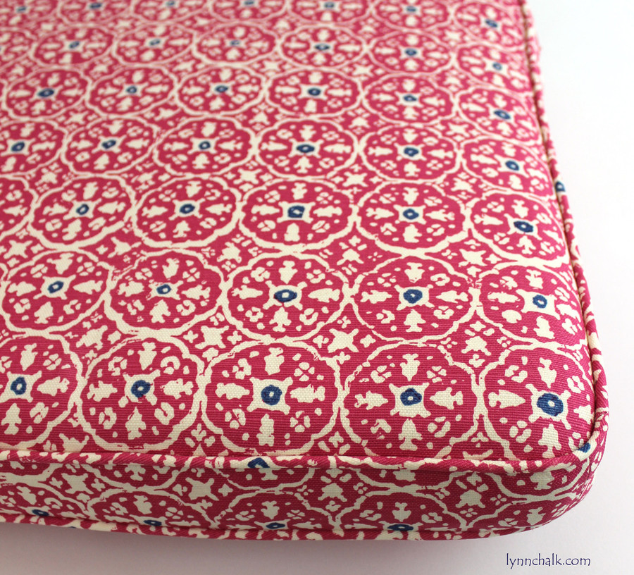 Custom Cushion in Quadrille Nitik II Magenta with New Navy 149-34