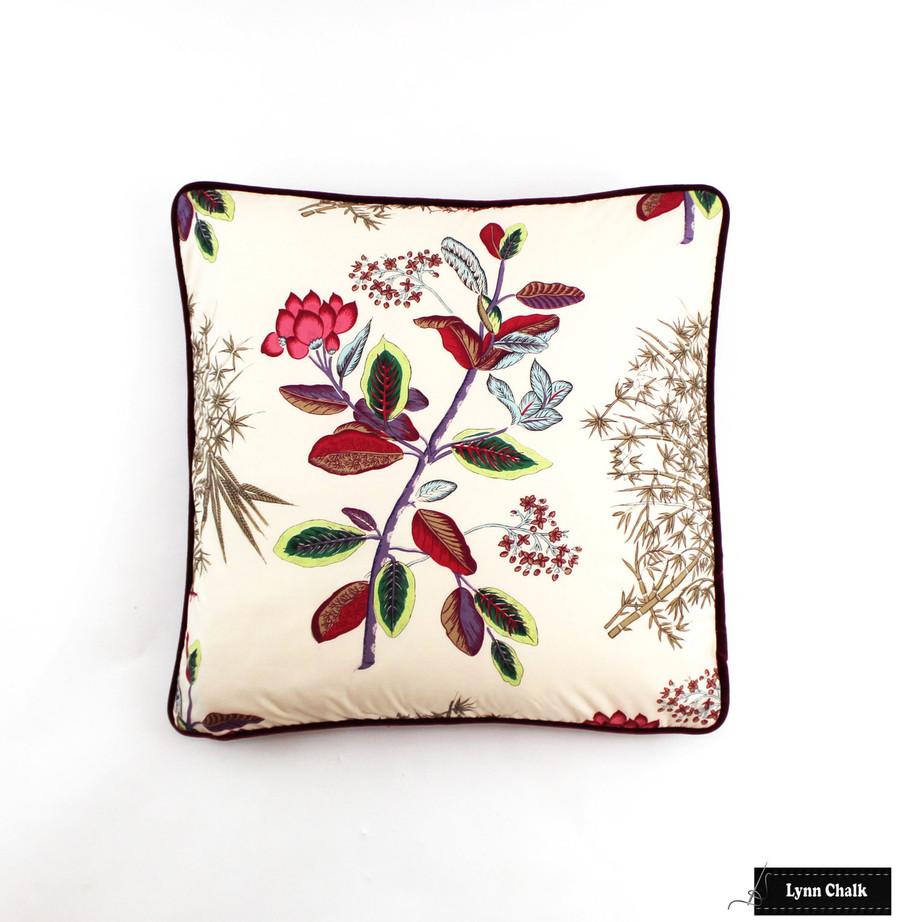 Custom Pillow in Quadrille Jardin Des Plantes Multi with Beacon Hill Luxury Red Velvet Welting