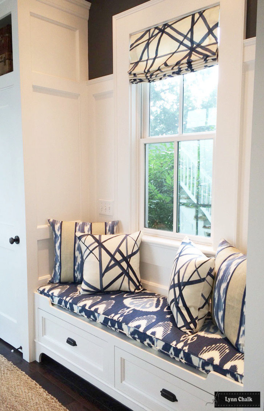 Kelly Wearstler Channels Roman Shade and Pillows Bansuri Cushion and Kravet Rajani Pillows