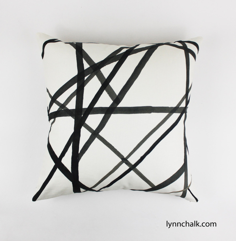 Custom Pillows in Kelly Wearstler Channels in Ebony/Ivory