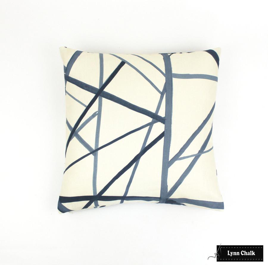 Custom Pillows in Kelly Wearstler Channels in Periwinkle/Oat