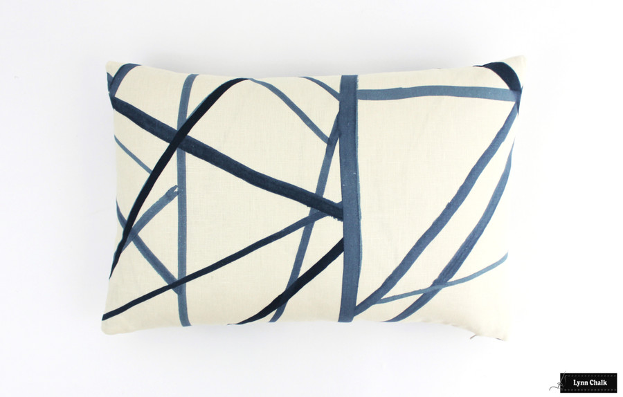 Kelly Wearstler for Lee Jofa Channels Custom Pillows - (Shown in Periwinkle/Oat) 2 Pillow Minimum Order