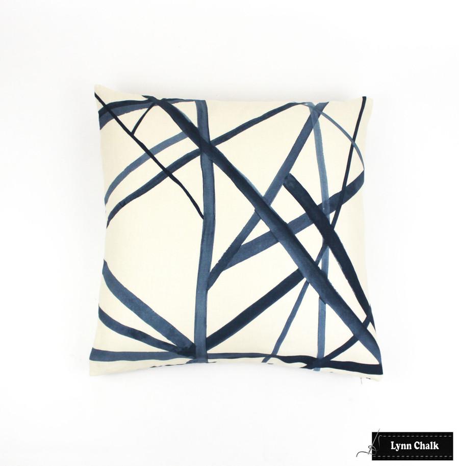 Pillow in Channels in Periwinkle/Oat 20 X 20