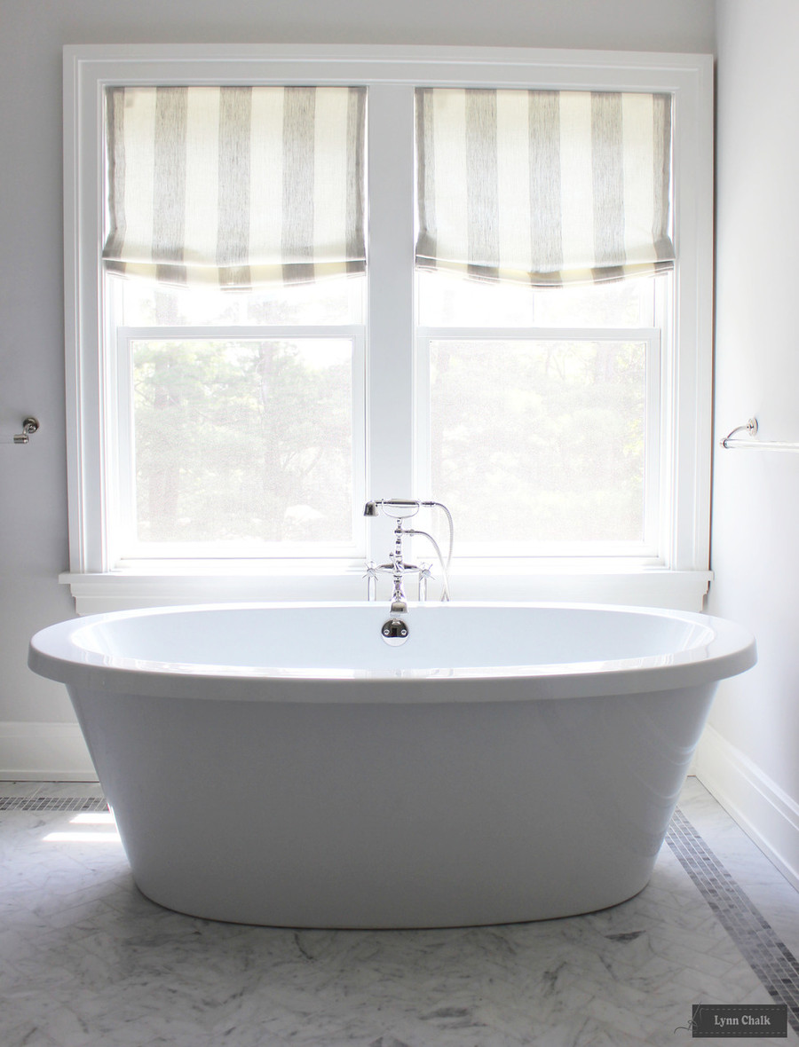 Robert Allen Perfect Match Semi-Sheer Linen Roman Shade in Master Bath