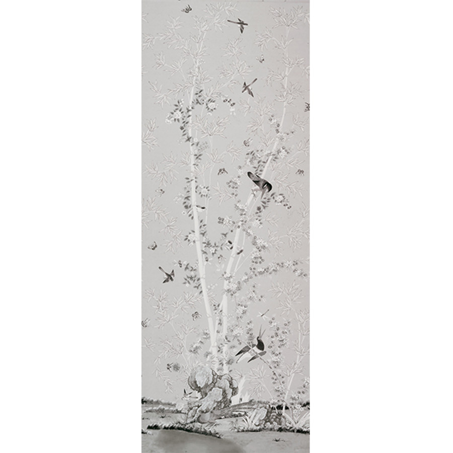 """Miles Redd for Schumacher Brighton Pavilion in Black & White (Priced and Sold by the 144"""" Full Length Panel)"""