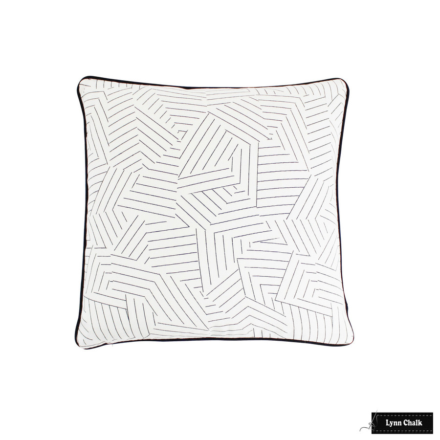 Custom Pillow in Deconstructed Stripe with Black Welting (20 X 20)