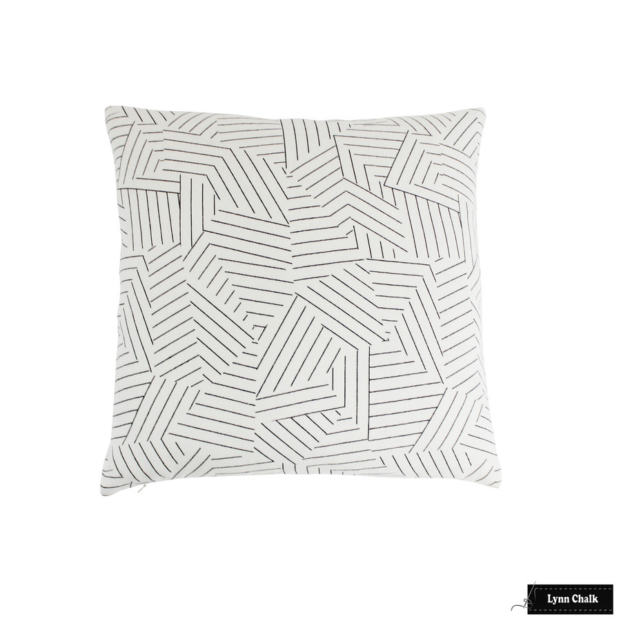 Miles Redd for Schumacher Deconstructed Stripe Fabric in Greige 176053