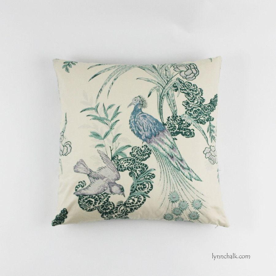 Custom Pillow in Miles Redd Peacock in Cream