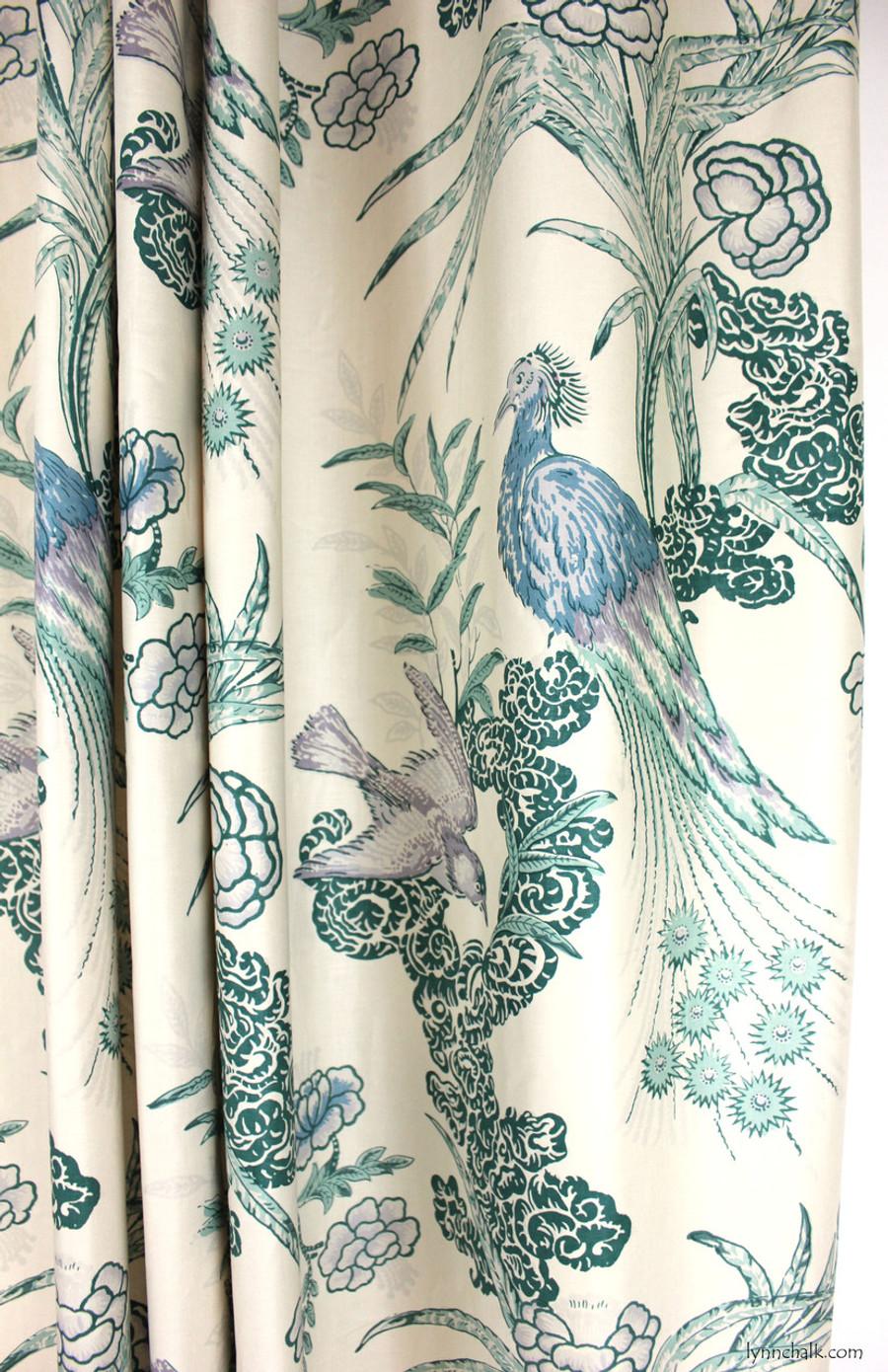 Custom Drapes in Miles Redd Peacock in Cream