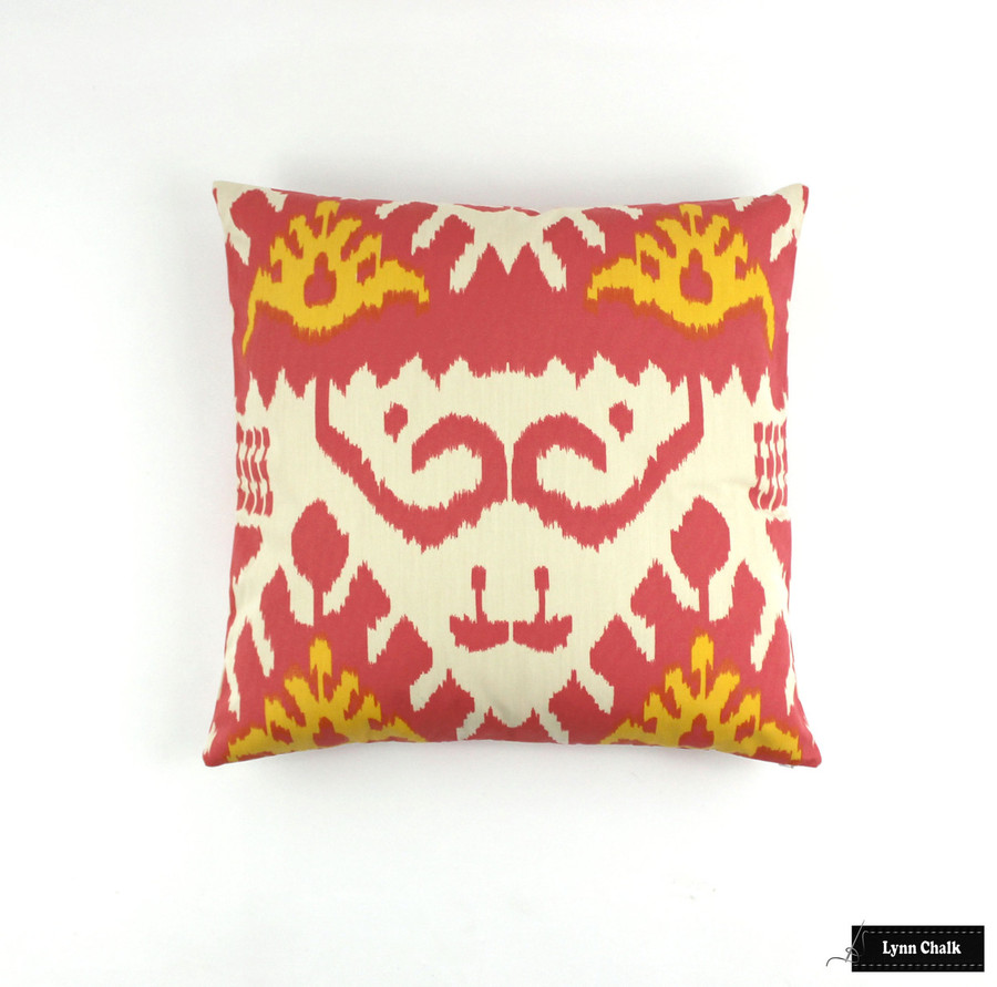 ON SALE 65% Off-Quadrille Kazak Custom Pillow in Coral/New Yellow on Suncloth (Both Sides -22 X 22)