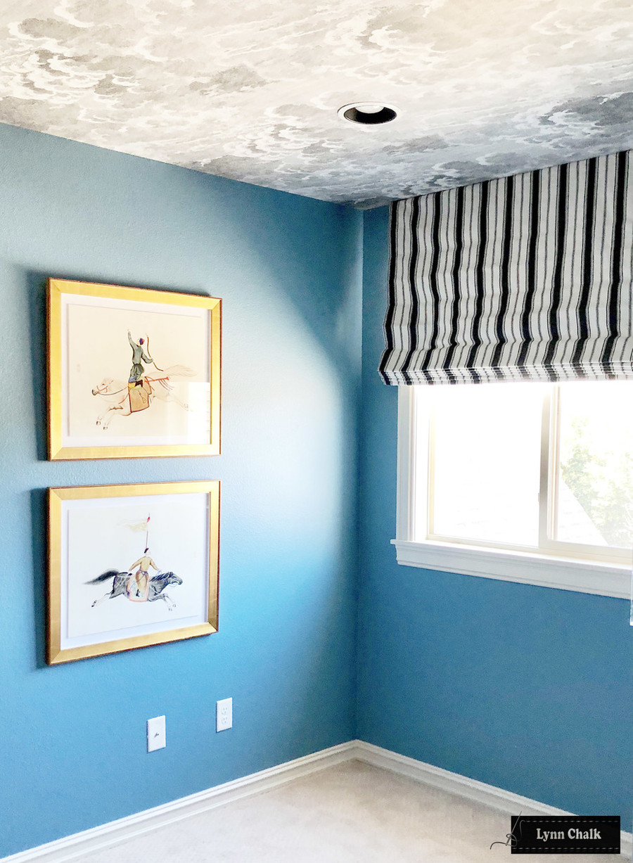 Roman Shade in Branca Stripe Noir with Nuvole Storm Wallpaper on Ceiling