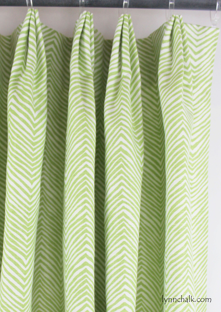 Quadrille Alan Campbell Petite Zig Zag Drapes in Jungle Green on White