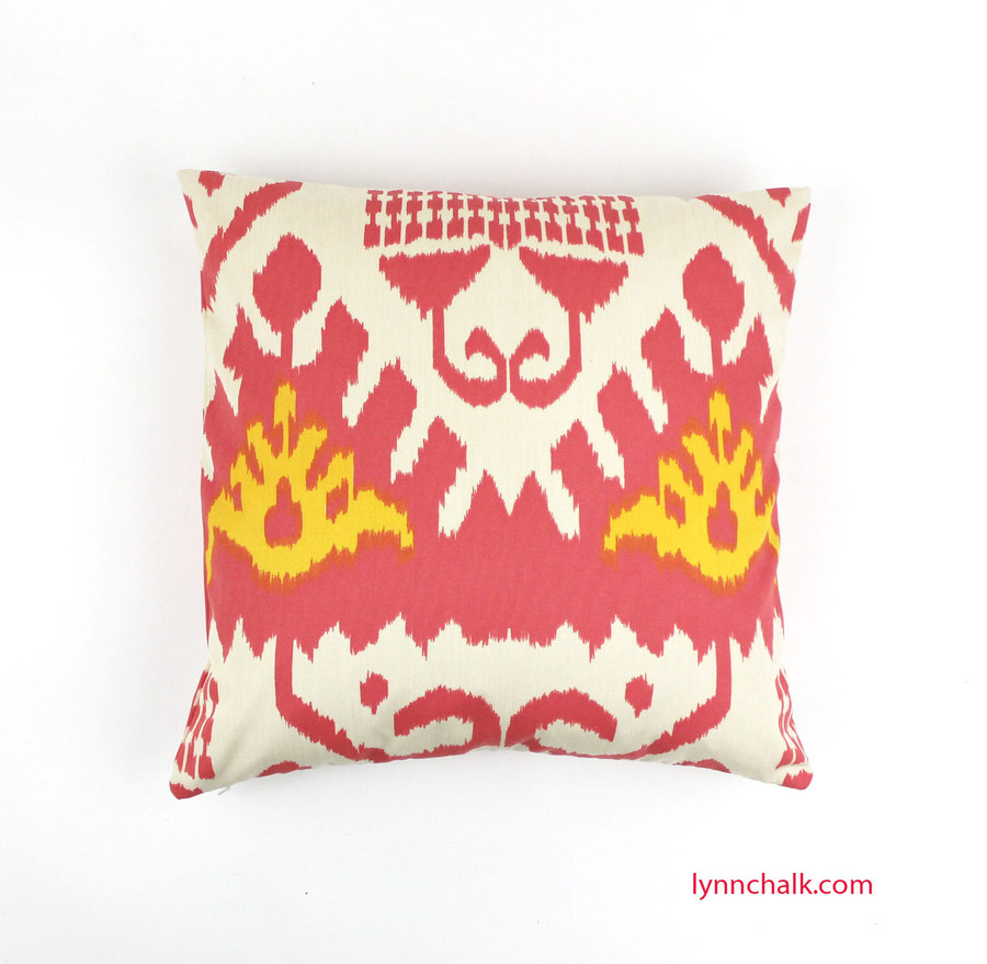 """Pillow in Quadrille Kazak (Shown in Coral and New Yellow 20"""" X 20"""")"""