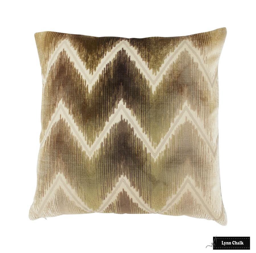 Schumacher Shock Wave Sand & Sable Pillow (22 X 22)
