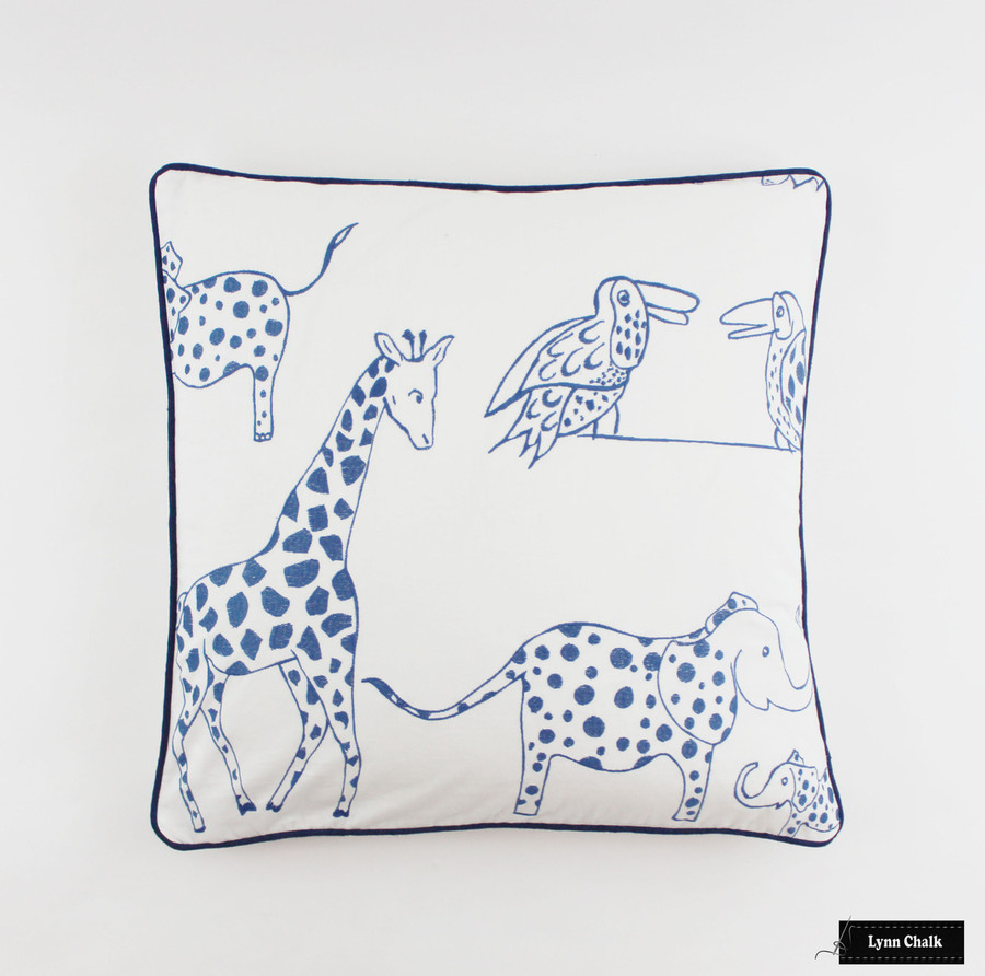 Pillow 24 X 24 in Jungle Jubilee in Blueberry with Navy Welting