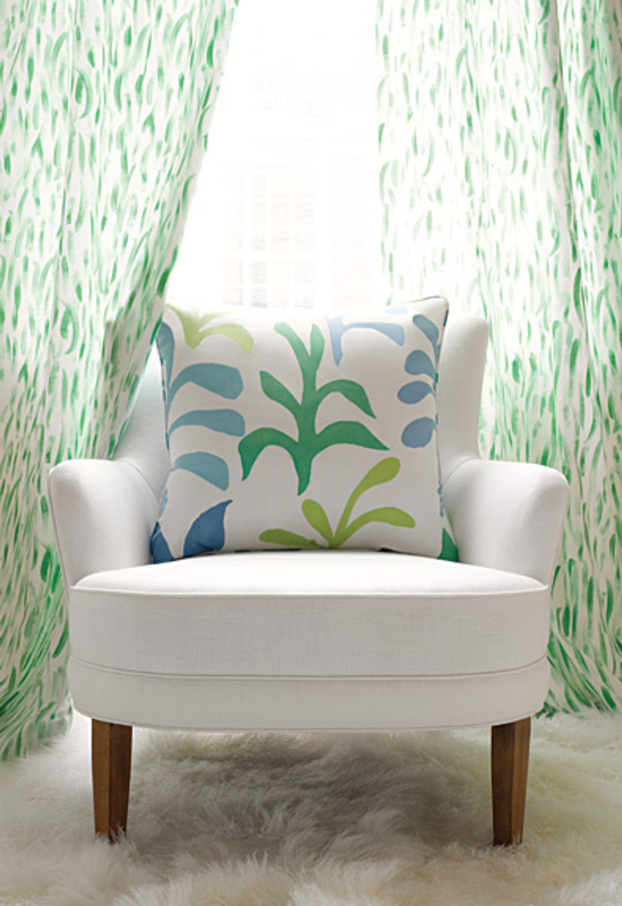Lulu DK Drapes in Cha Cha Grass and Pillow in Ode to Matisse Leaf Ocean