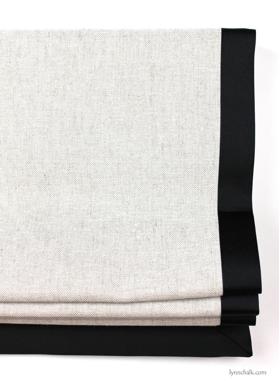 "Custom Roman Shade in Robert Allen Linen Canvas Whitewash with Samuel & Sons 1 1/2"" Grosgrain Trim in Black"
