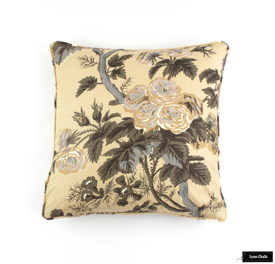 Schumacher Pyne Hollyhock Print Pillows in Charcoal with Welting (2 Pillow Minimum Order)
