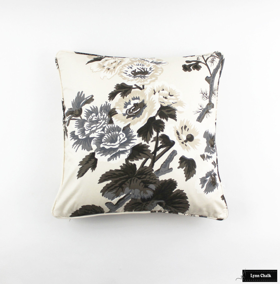 Custom Pillows in Hollyhock Print in Charcoal with self welting
