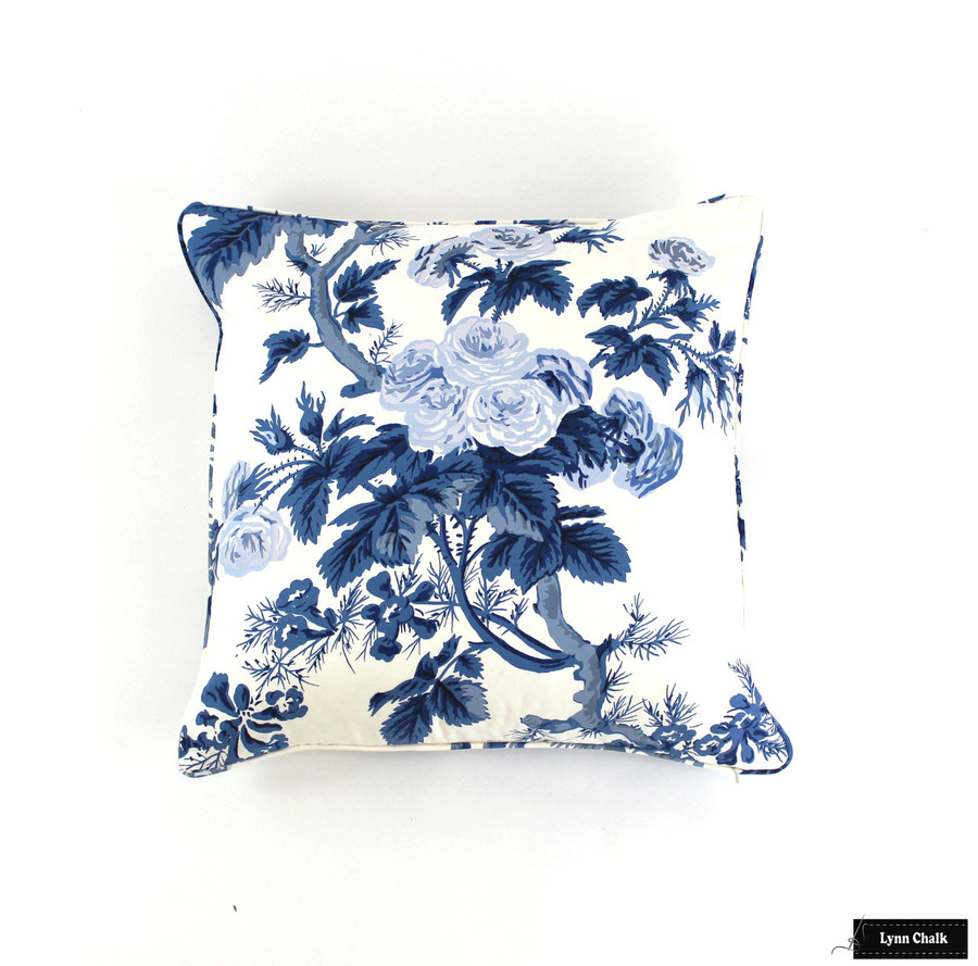 Custom Pillows in Hollyhock Print in Indigo with self welting