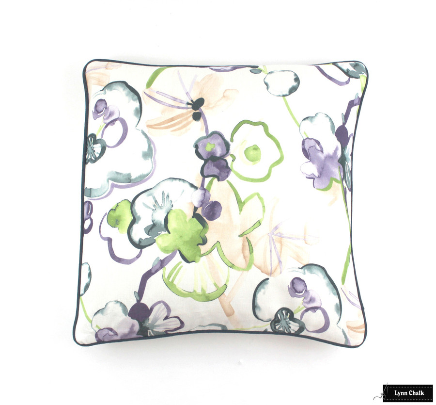 Vervain Santenay Orchid Pillow with Dark Blue Welting (20 X 20)