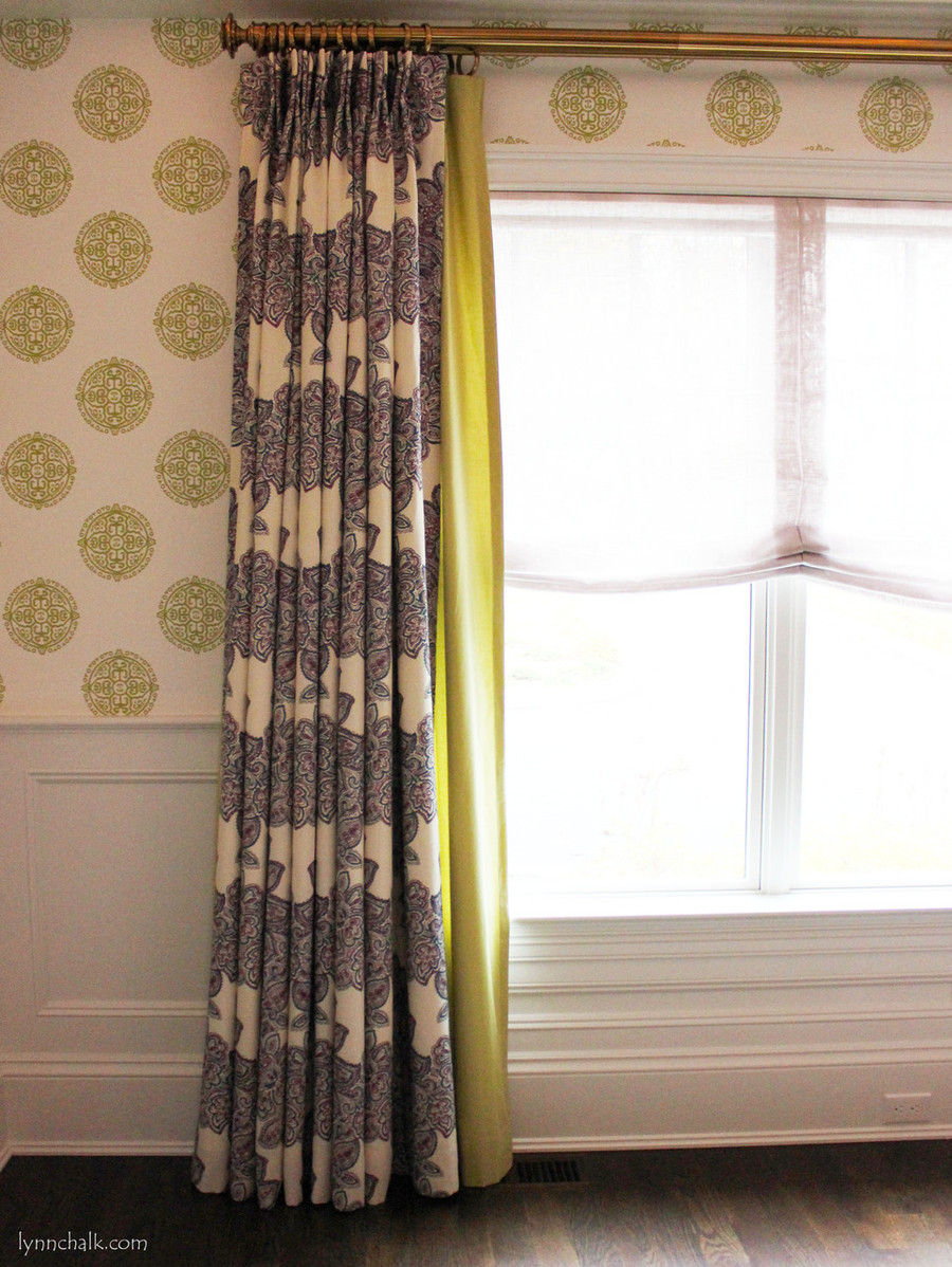 Drapes in Duralee Maris Currant 21076 338.  2nd Layer of Drapes in Fabricut Classic Chintz Light Green 41.  Sheer Relaxed Roman Shade in Donghia Maestro Linen Scrimm Lavender.  Thibaut Halie Circle Wallpaper Green T36171.