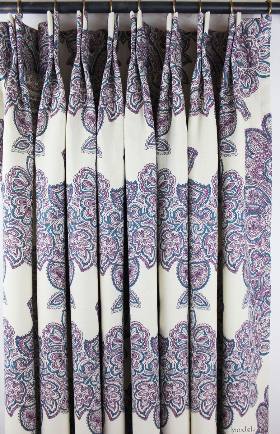 Duralee Maris Custom Drapes (shown in Currant-also comes in Rose, and Sea Green)