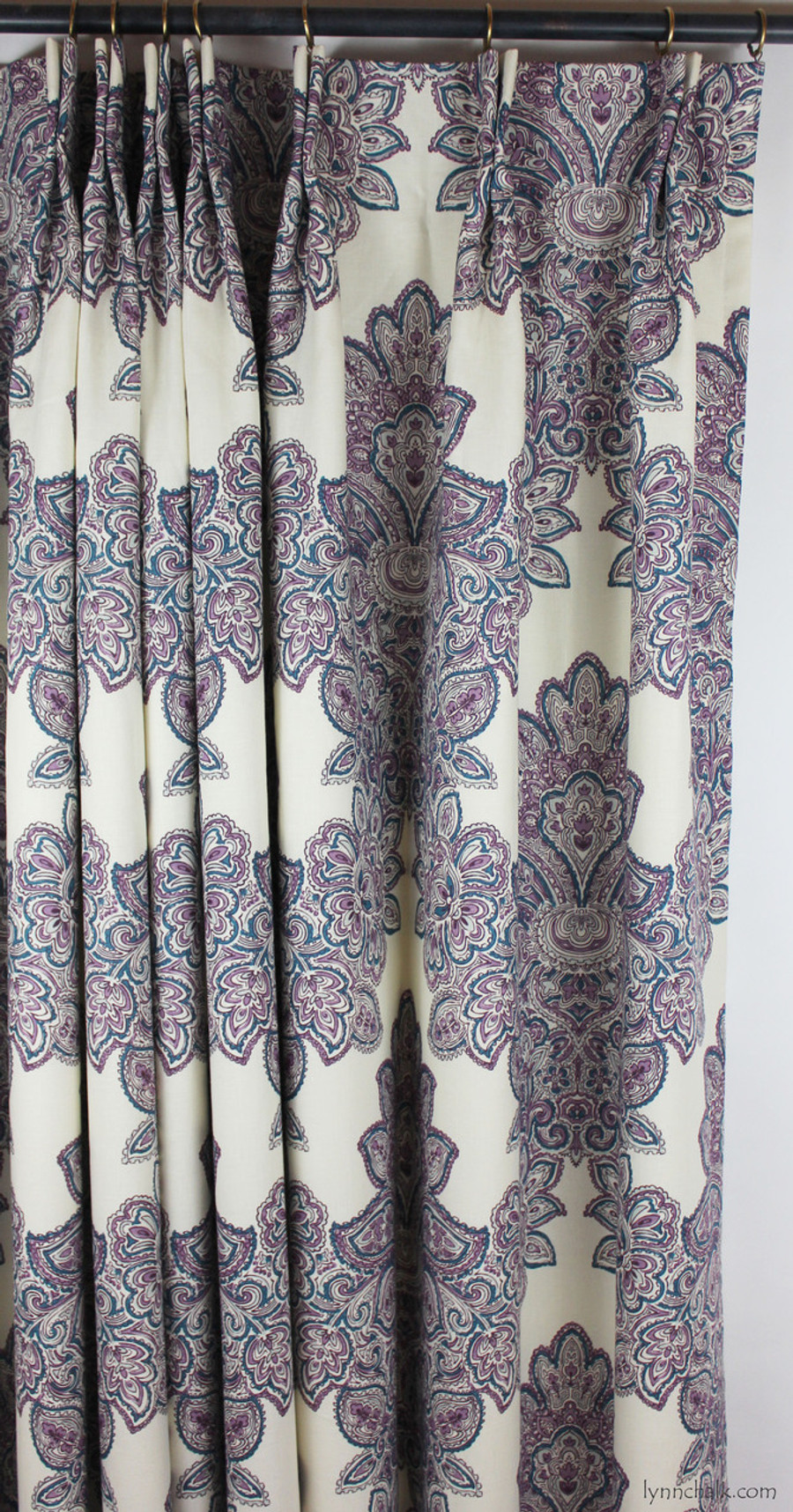 Duralee Maris Custom Dining Room Drapes (shown in Currant-also comes in Rose and Sea Green)