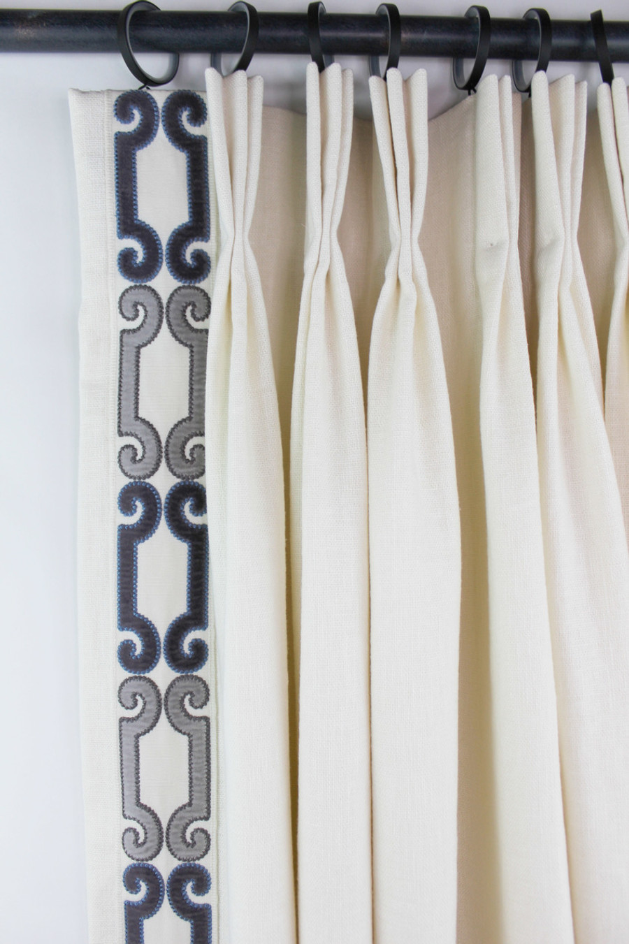 """Trend 01838 Glacier Drapes with Zimmer Rohde Velvet Scroll Trim 2 3/4"""" Wide in Navy Gray 2860012598"""